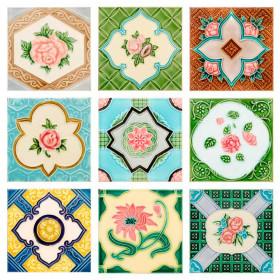 Adesivo Azulejo Flor Vintage