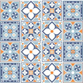 Adesivo Azulejo Azul e Laranja
