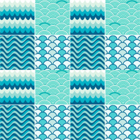 Adesivo Azulejo Onda Azul