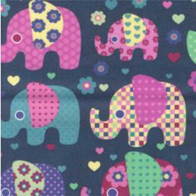 Tecido Adesivo Elefante Colorido