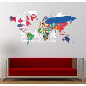 Mapa do Mundo Bandeiras