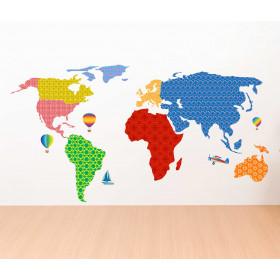 Adesivo Mapa Colorido