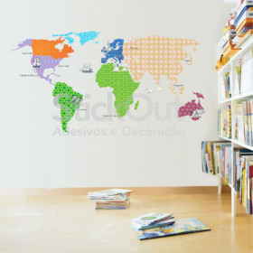 Adesivo Mapa do Mundo Patchwork 1