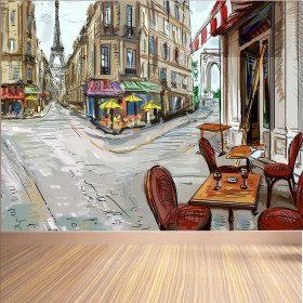 Adesivo Poster Ruas de Paris