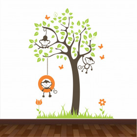 Adesivo Árvore e Macaquinhos