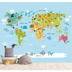 Adesivo Mapa Animais ao redor do Mundo