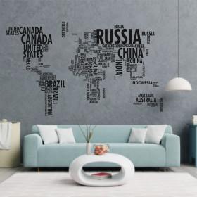 Adesivo Mapa do Mundo em Palavras