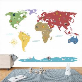 Adesivo Mapa do Mundo Bichinhos