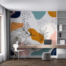 Painel Adesivo Abstrato e Folhas