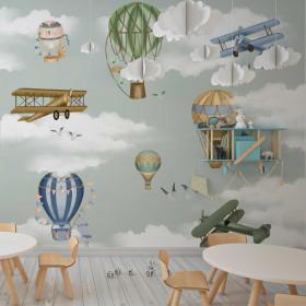 Painel Adesivo Balões e Aviões
