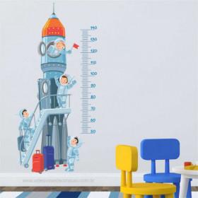 Régua de Crescimento Foguete e Astronautas
