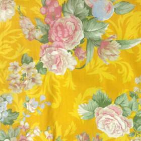 Tecido Adesivo Floral Amarelo Rosa