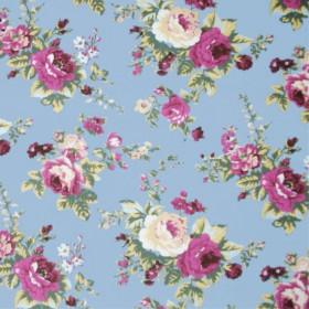 Tecido Adesivo Floral Azul e Rosa